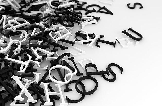 3D Buchstaben liegen durcheinander